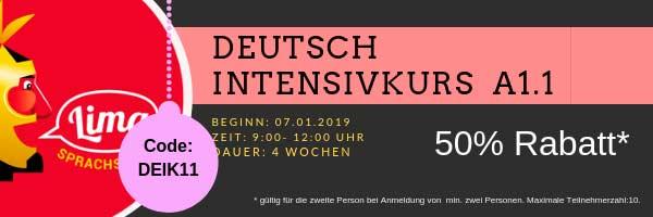 Gutschein Deutsch Intensivkurs A1.1